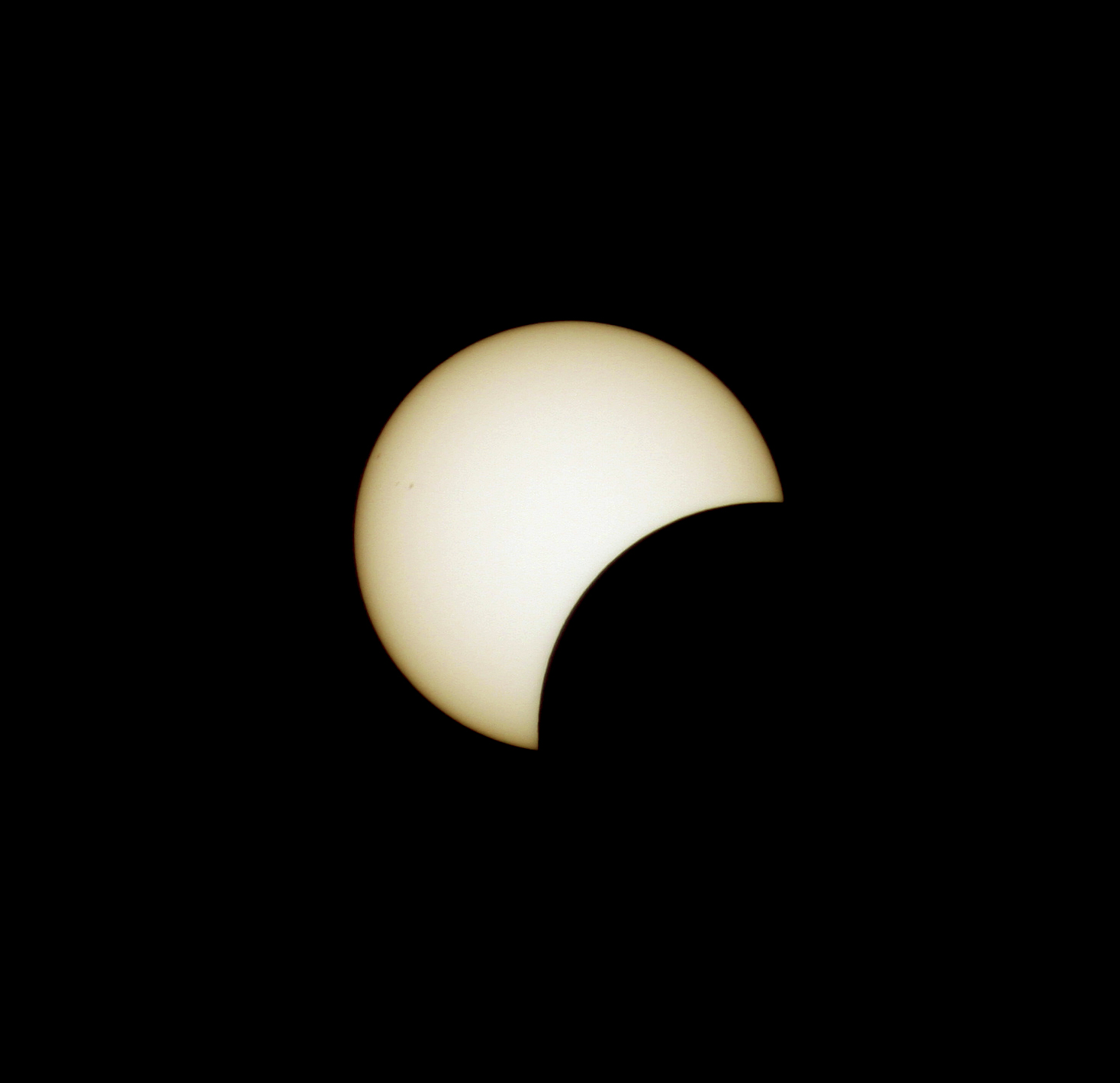 The Sun in partial eclipse, as imaged through a specialist solar telescope. Image: Jamie Cooper.