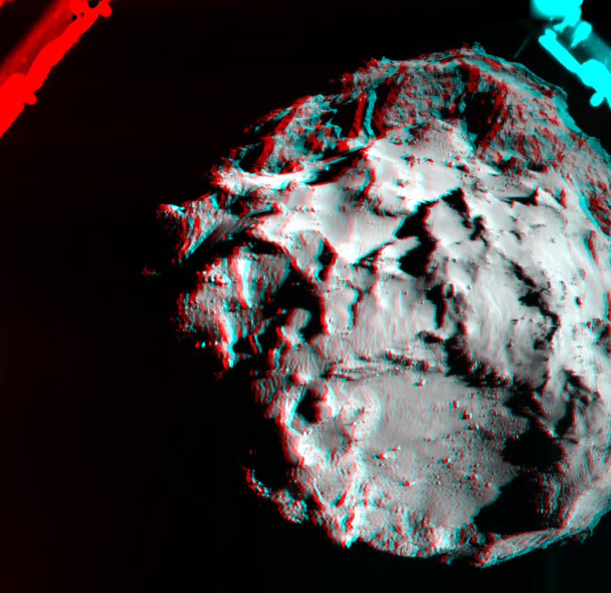 This 3D image shows what it would look like to fly 2 miles (3 km) above the surface of comet 67P/Churyumov-Gerasimenko. The image was generated by data collected by the ROLIS instrument aboard the European Space Agency's Philae spacecraft during the decent to the spacecraft's 12th November initial touchdown on the comet. Image Credit: ESA/Rosetta/Philae/ROLIS/DLR