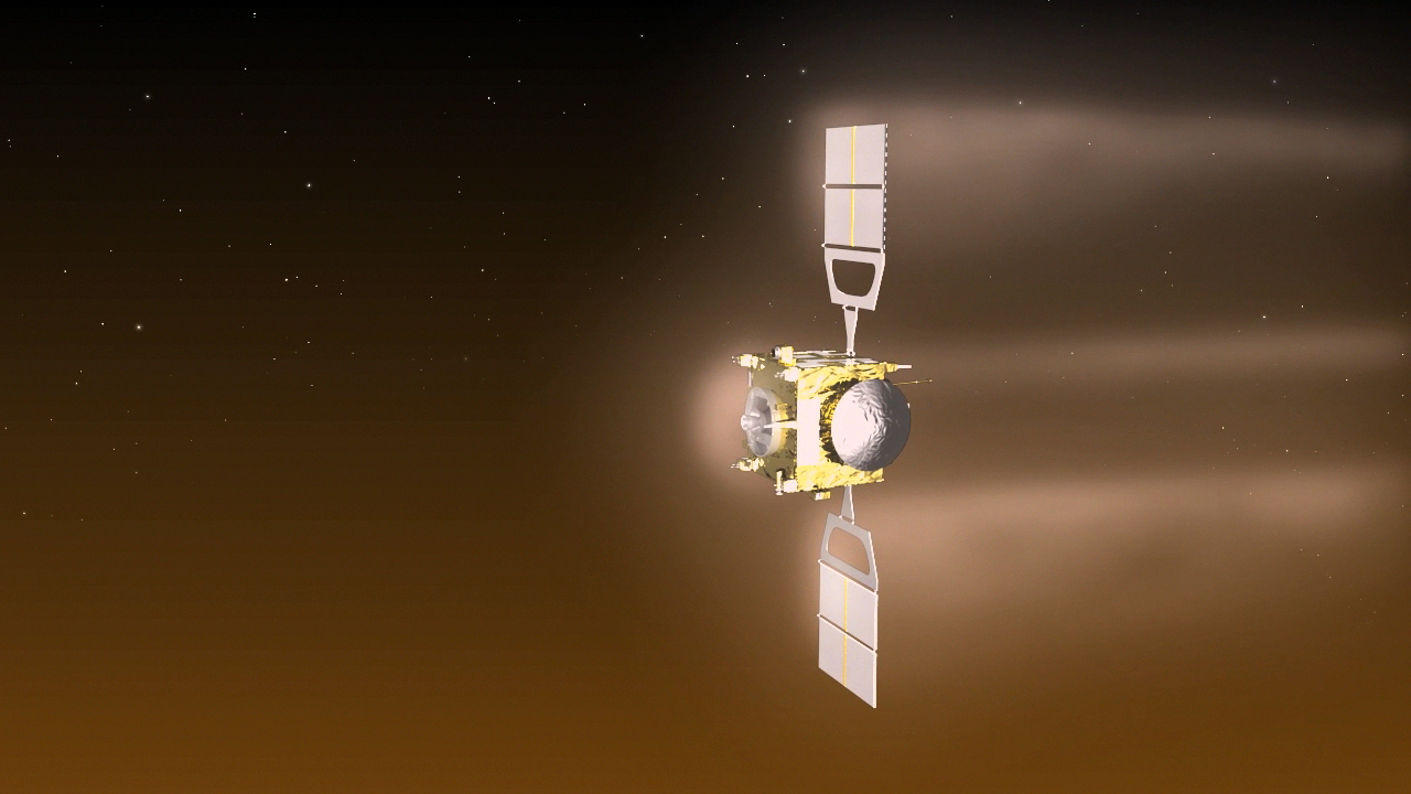 "Artist's concept of the Venus Express spacecraft during an ""aerobreaking"" campaign conducted in mid-2014. Credit: ESA-C. Carreau"