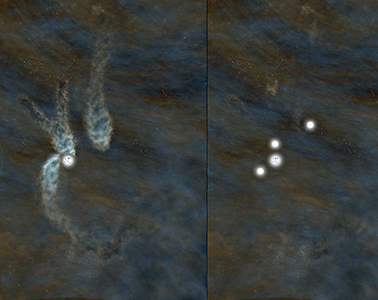 Artist's conception of the B5 complex as seen today (left), and as it will appear as a multiple-star system in about 40,000 years (right). Image credit: Bill Saxton, NRAO/AUI/NSF