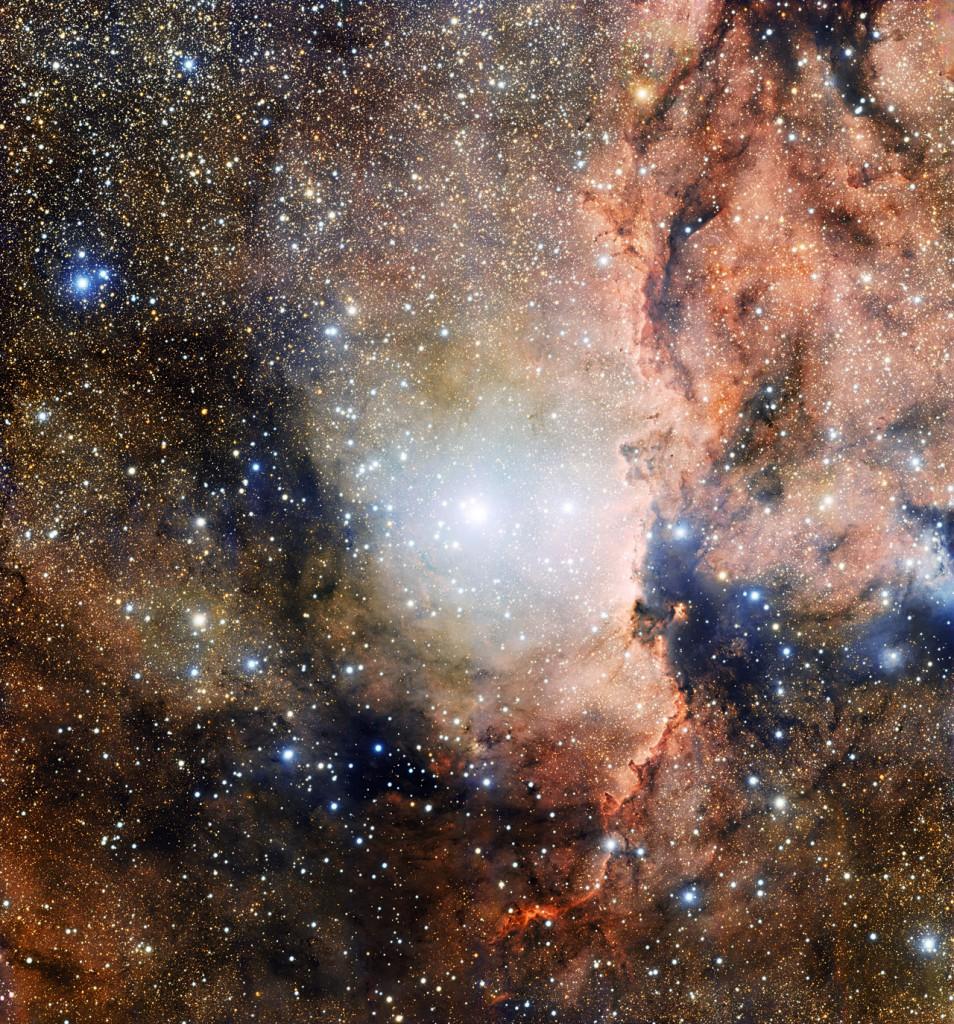 Star cluster NGC 6193 and nebula NGC 6188. Image: ESO.