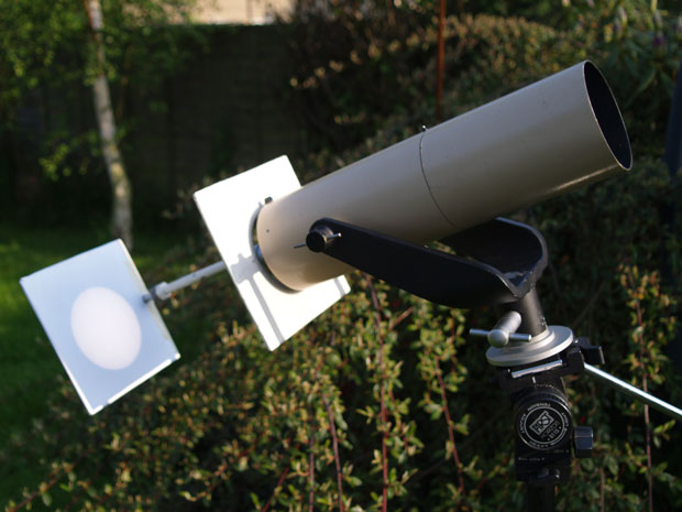 Projecting the image of the eclipse through your telescope eyepiece and onto a piece of card is one of the safer ways to view the eclipse. Image: Steve Ringwood.