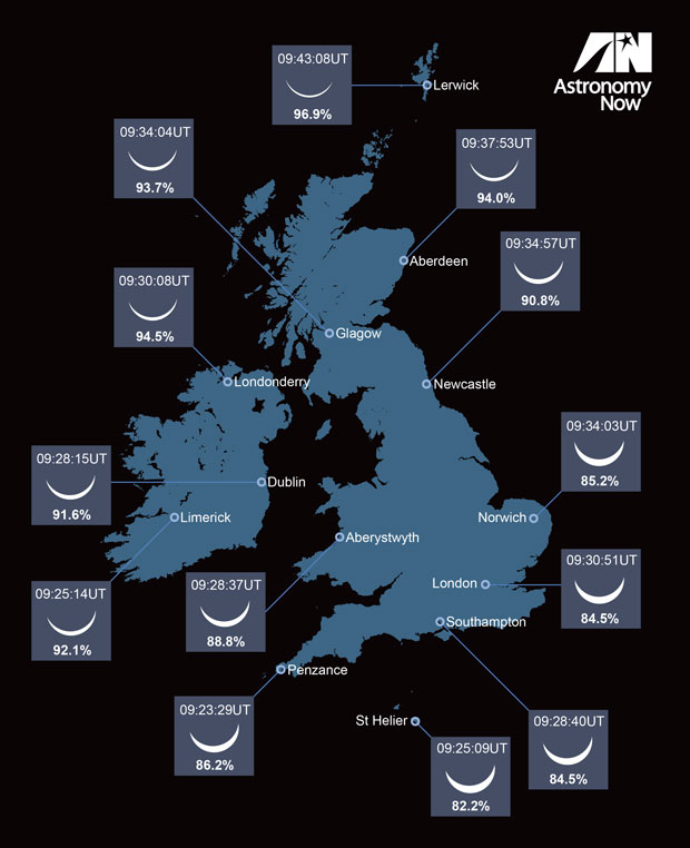 The partial phases of the eclipse that can be expected across the UK. AN graphic by Greg Smye-Rumsby.