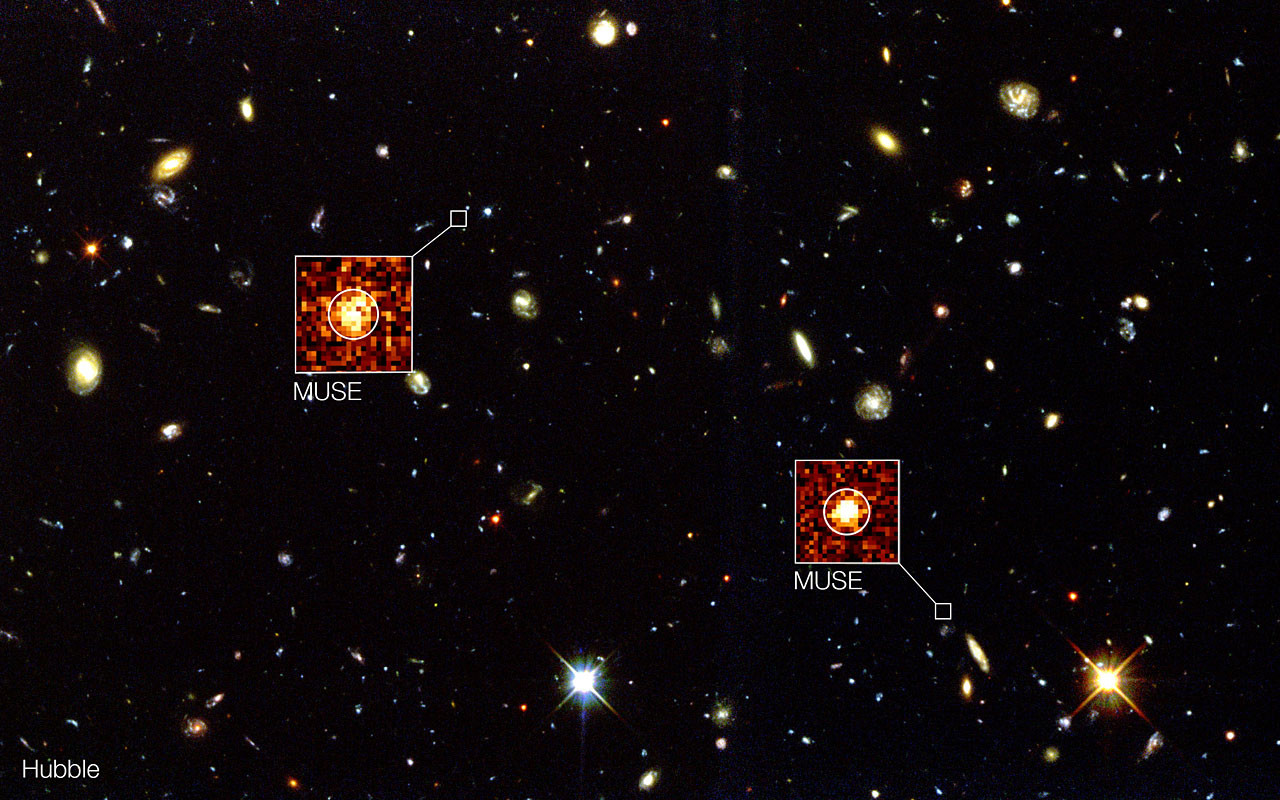 The background image in this composite shows the NASA/ESA Hubble Space Telescope image of the region known as the Hubble Deep Field South. New observations using the MUSE instrument on ESO's Very Large Telescope have detected remote galaxies that are not visible to Hubble. Two examples are highlighted in this composite view that show up strongly in the appropriate parts of the three-dimensional MUSE data. Image credit: ESO/MUSE Consortium/R. Bacon