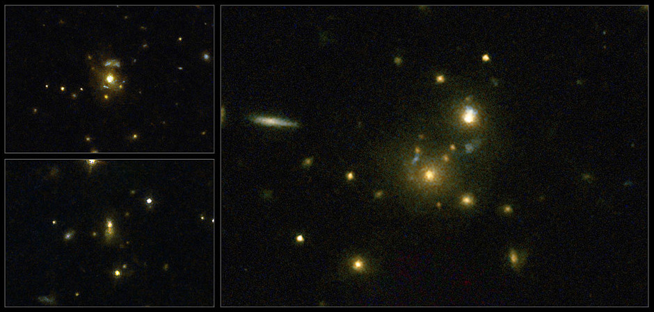 This image taken with the NASA/ESA Hubble Space Telescope shows a selection of galaxies used in a survey to confirm the link between mergers and high-speed jets from supermassive black holes. These galaxies have very strong emissions at radio wavelengths, implying that the supermassive black holes they host are feeding huge outflows of plasma. On the left (top to bottom) are the galaxies 3C 297 and 3C 454.1, on the right is 3C 356. Image credit: NASA, ESA, M. Chiaberge (STScI).