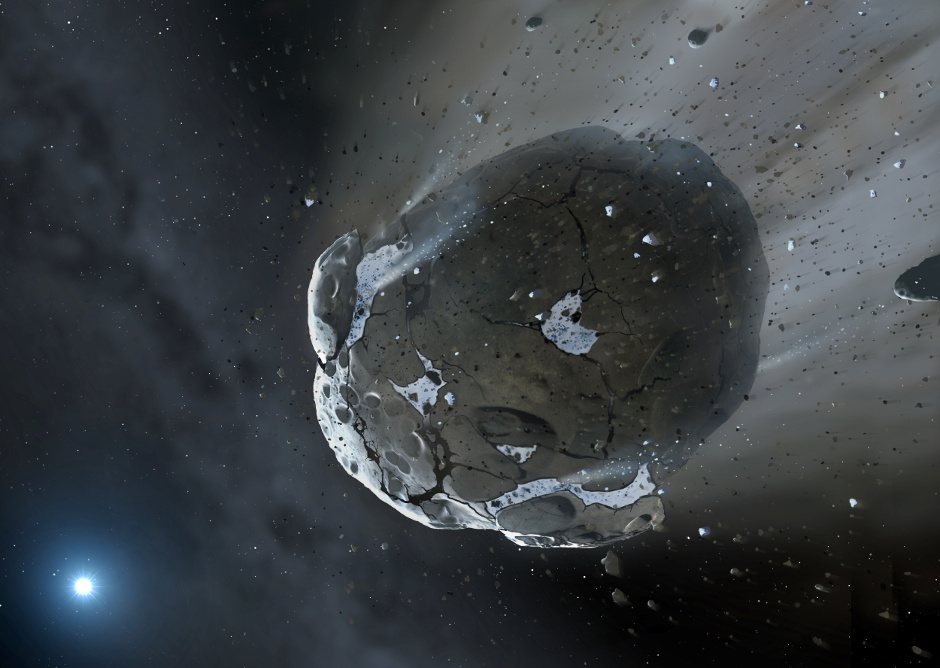 Artist's impression of a rocky and water-rich asteroid being torn apart by the strong gravity of the white dwarf star. Similar objects in the Solar System likely delivered the bulk of water on Earth and represent the building blocks of the terrestrial planets. Image credit: Mark A. Garlick (http://space-art.co.uk) / University of Warwick.