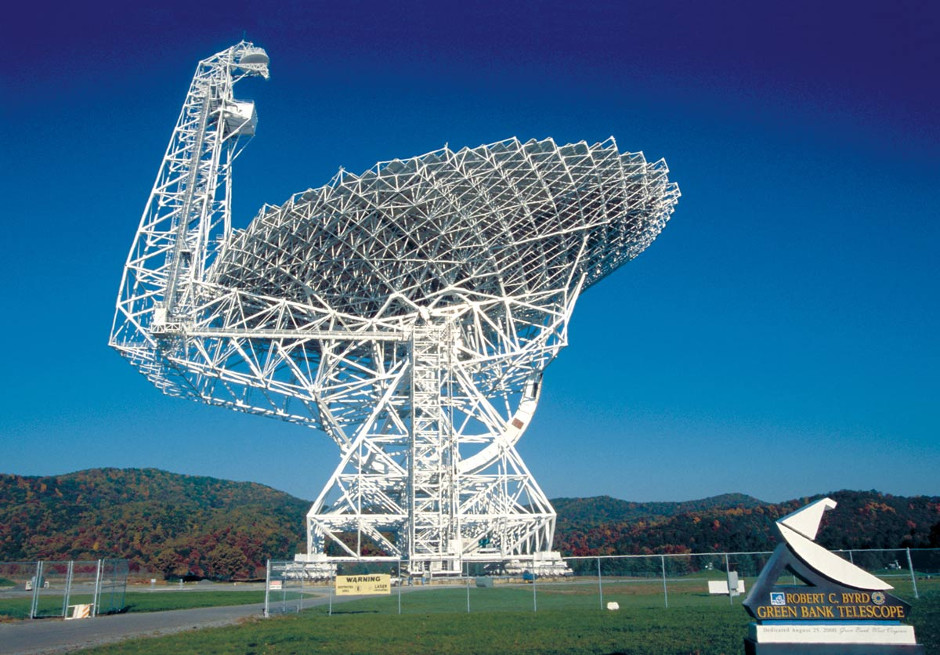 The 100-metre aperture Robert C. Byrd Green Bank Telescope (GBT), inaugurated in 2001, is the world's largest fully steerable radio telescope. It is also the world's largest land-based moveable structure. Image credit: AUI/NRAO/GBO.