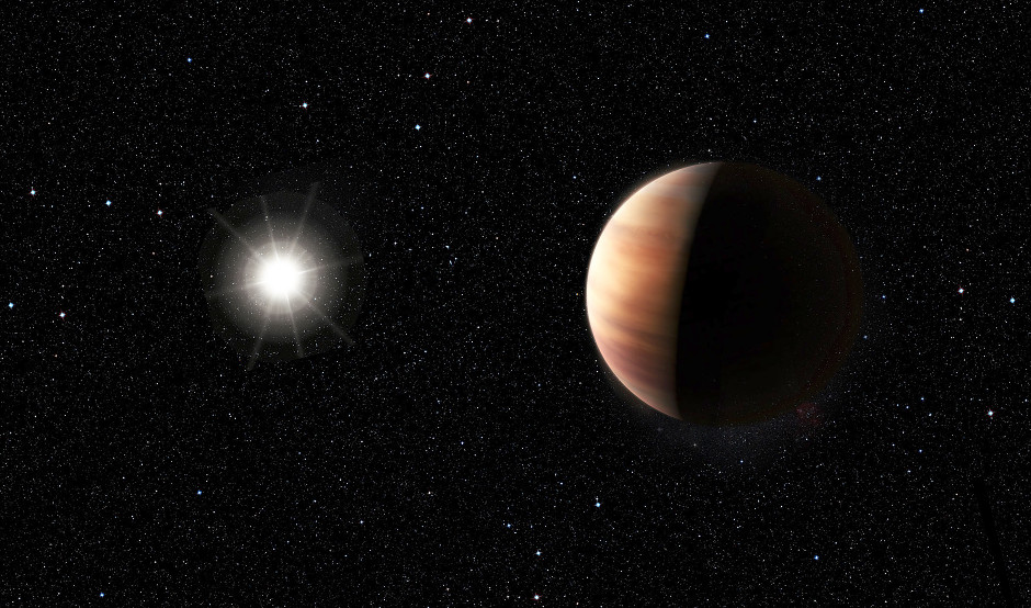An artist's impression showing a newly discovered Jupiter twin gas giant orbiting the solar twin star, HIP 11915. The planet is of a very similar mass to Jupiter and orbits at the same distance from its star as Jupiter does from the Sun. This, together with HIP 11915's Sun-like composition, hints at the possibility of the system of planets orbiting HIP 11915 bearing a resemblance to our own Solar System, with smaller rocky planets orbiting closer to the host star. Image credit: ESO/M. Kornmesser.