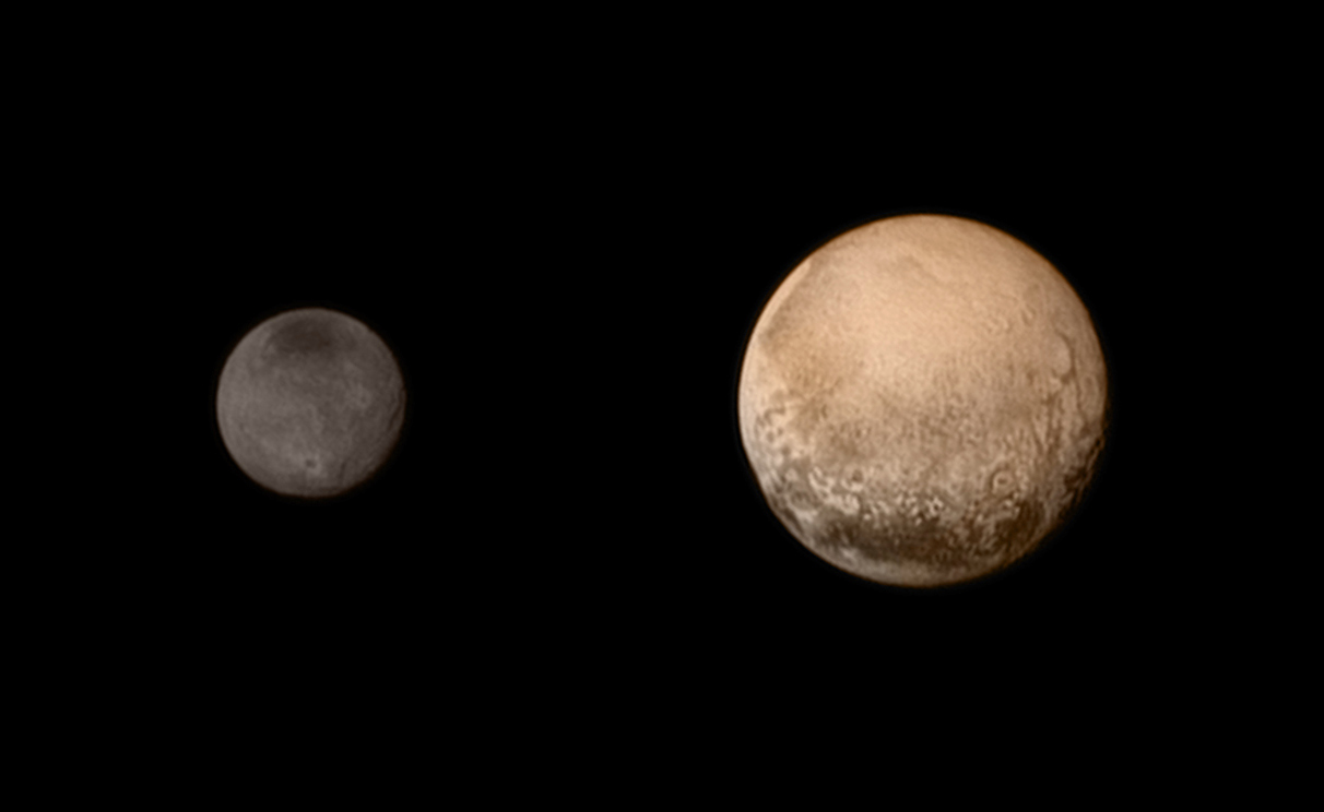 A portrait from the final approach. Pluto and Charon display striking colour and brightness contrast in this composite image from 11 July, showing high-resolution black-and-white LORRI images colourised with Ralph data collected from the last rotation of Pluto. Colour data being returned by the spacecraft now will update these images, bringing color contrast into sharper focus. Image credits: NASA-JHUAPL-SWRI.