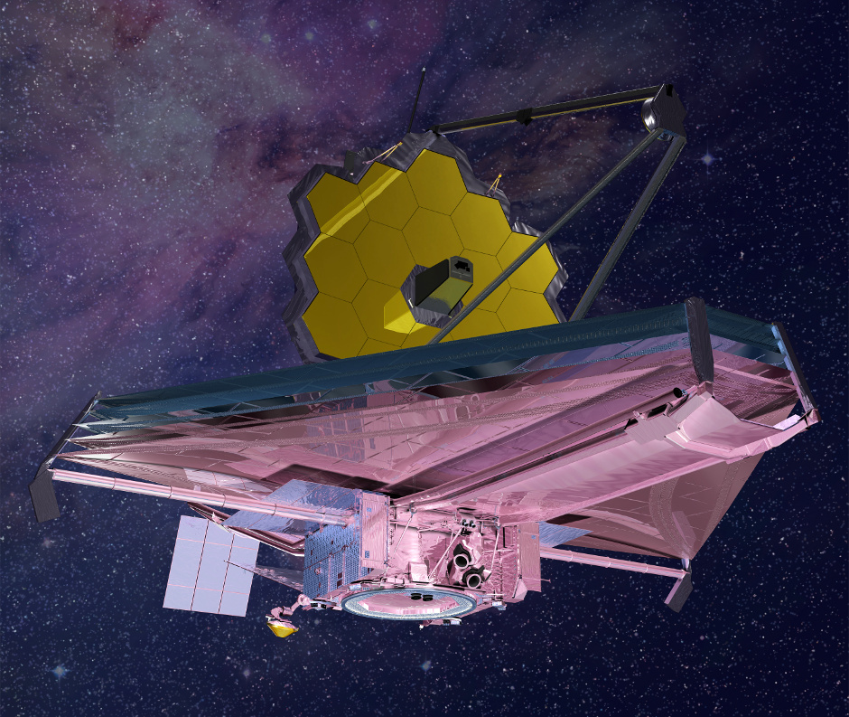 Artist's conception of the James Webb Space Telescope  (JWST), deemed the successor to the Hubble Space Telescope, is an infrared, spacebourne telescope built by NASA, which is slated for a 2018 launch. With its segmented 6.5-metre primary mirror, JWST promises to open up new avenues in space science, including the study of Earth-sized exoplanets. Image credit: Northrop Grumman/NASA.