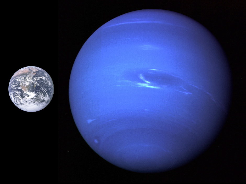 This composite picture shows the relative sizes of Earth and Neptune. The image of Neptune was captured by Voyager 2 at a distance of 4.4 million miles, some 116 hours before the spacecraft's closest approach in August 1989. The Great Dark Spot, an anticyclonic storm, is thought to represent a hole in the methane cloud deck of Neptune's atmosphere. Around it, winds were measured blowing up to 1,500 miles (2,400 kilometres) an hour — the fastest in the solar system. Neptune completes a revolution in 16.11 hours. Image credit: NASA/JPL.