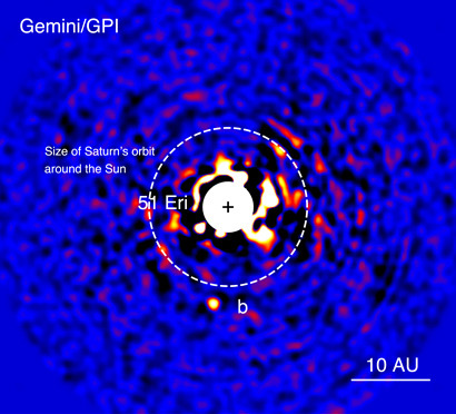 Image of the exoplanet 51Eridanib taken by the Gemini Planet Imager in the near-infrared on 18 December 2014. The light from the central star has been mostly removed to enable the detection of the exoplanet one million times fainter. Image credit: J. Rameau (UdeM) and C. Marois (NRC Herzberg).