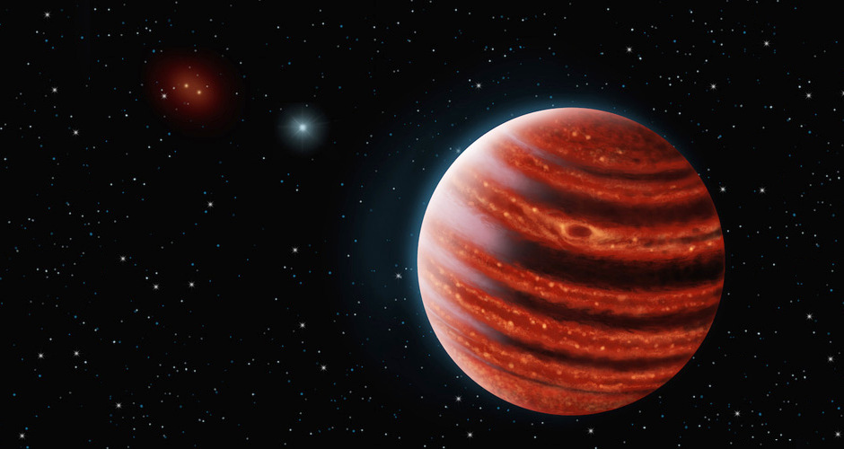 An artistic conception of the Jupiter-like exoplanet, 51Erib, seen in the near-infrared light that shows the hot layers deep in its atmosphere glowing through clouds. Because of its young age, this cousin of our own Jupiter is still hot and carries information on the way it was formed 20 million years ago. Image credit: Danielle Futselaar and Franck Marchis, SETI Institute.