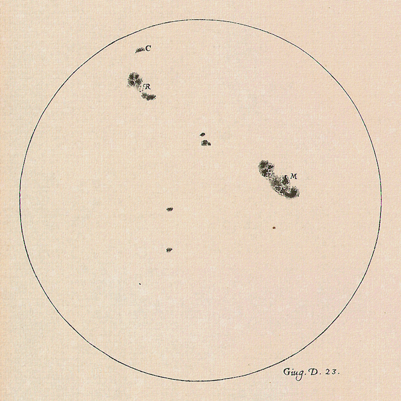 A drawing of the Sun made by Galileo Galilei on 23 June 1613 showing the positions and sizes of a number of sunspots. Galileo was one of the first to observe and document sunspots. Image credit: The Galileo Project/M. Kornmesser.