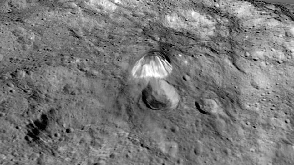 Among the highest features seen on Ceres so far is a mountain about 4 miles (6 kilometres) high, which is roughly the elevation of Mount McKinley in Alaska's Denali National Park. Image credits: NASA/JPL-Caltech/UCLA/MPS/DLR/IDA/LPI.