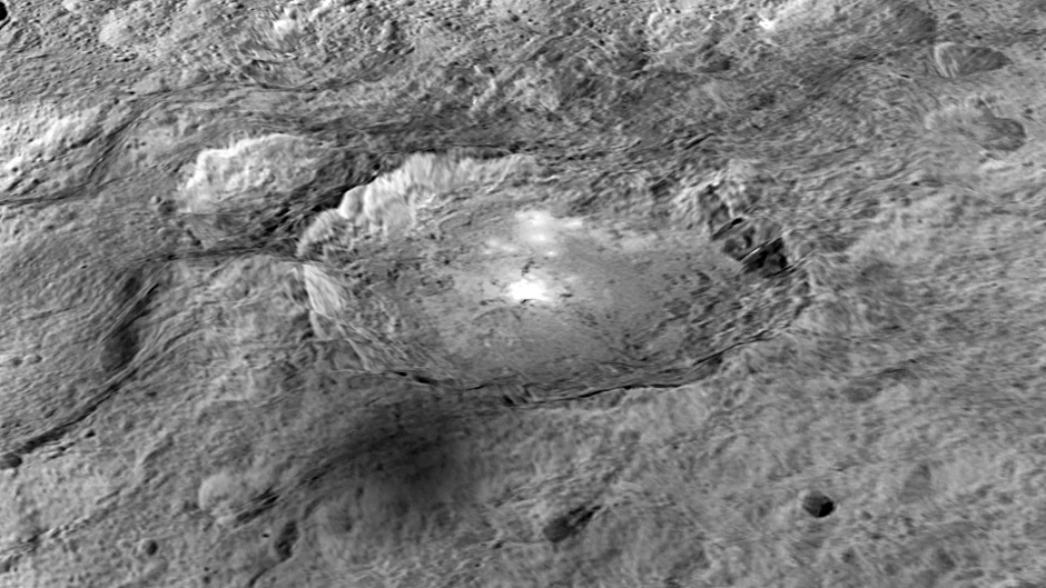The intriguing brightest spots on Ceres lie in a crater named Occator ('oh-KAH-tor'), which is about 60 miles (90 kilometres) across and 2 miles (4 kilometres) deep. Image credits: NASA/JPL-Caltech/UCLA/MPS/DLR/IDA/LPI.
