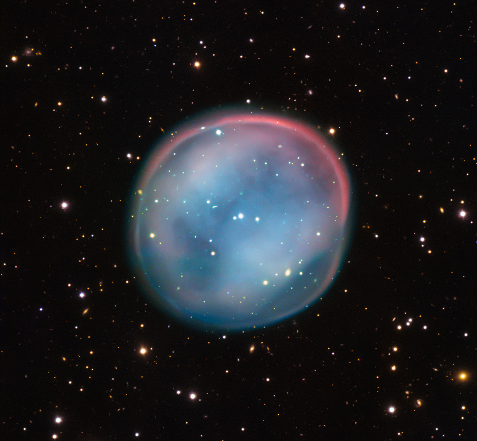 This extraordinary bubble, glowing like the ghost of a star in the haunting darkness of space, may appear supernatural and mysterious, but it is a familiar astronomical object: a planetary nebula, the remnants of a dying star. This is the best view of the little-known object ESO378-1 yet obtained and was captured by ESO's Very Large Telescope in northern Chile. It lies 3500 light-years away in the constellation Hydra. Image credit: ESO.