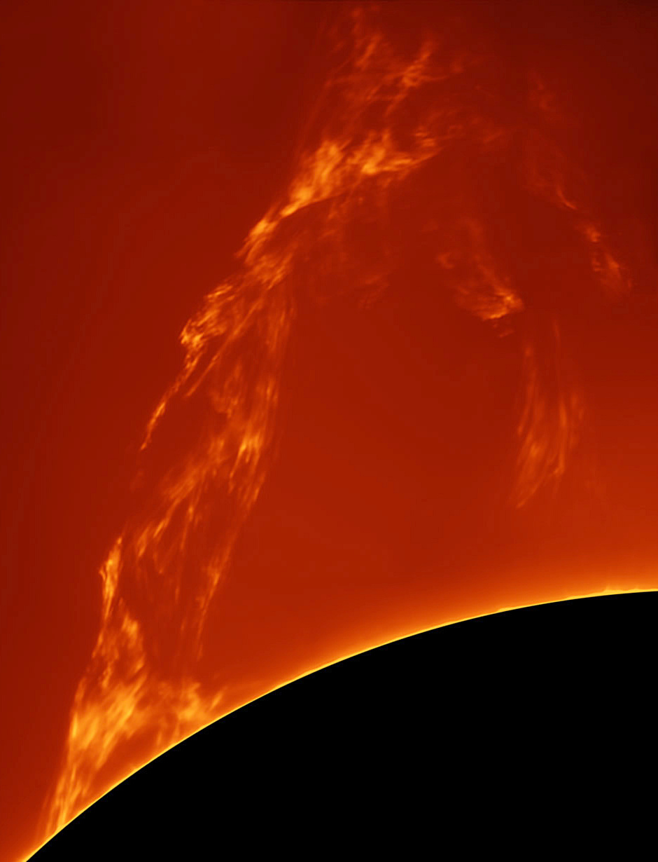 This image of a spectacular solar prominence was taken from Costigliole d'Asti, Italy by astrophotographer Paolo  Porcellana on 27 March 2015 using a home-made truss 150mm f/15 refractor, Sky-Watcher AZ EQ6 mount and PTG Chameleon mono camera. Image credit: © Paolo Porcellana.