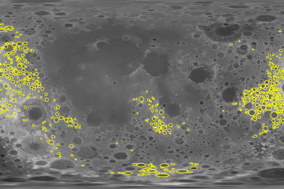MIT scientists analysed the gravity signatures of more than 1,200 craters (in yellow) on the far side of the Moon which revealed the true extent of upper-crust fracturing in the lunar highlands. Image credit: courtesy of the researchers.