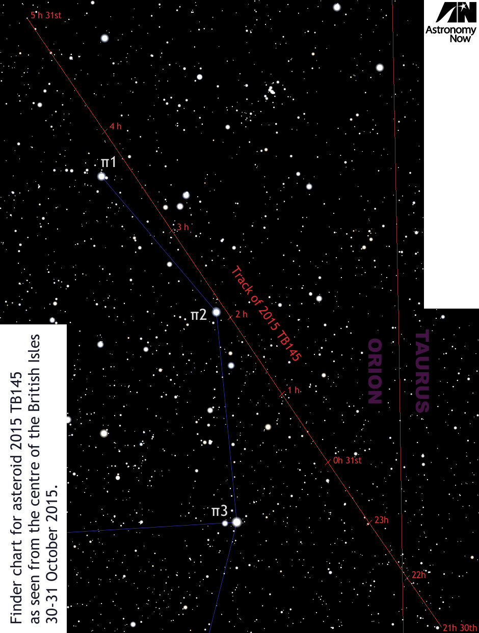 This zoomed-in view of the wide-field finder chart at the top of the page shows stars down to magnitude +13 on the border of Orion and Taurus and the 6.8 degree-long track of asteroid 2015 TB145 from 21h UT on Friday, 30 October to 05h UT on 31 October. Click the graphic for a greyscale version suitable for printing and using outside at the telescope. AN graphic by Ade Ashford.