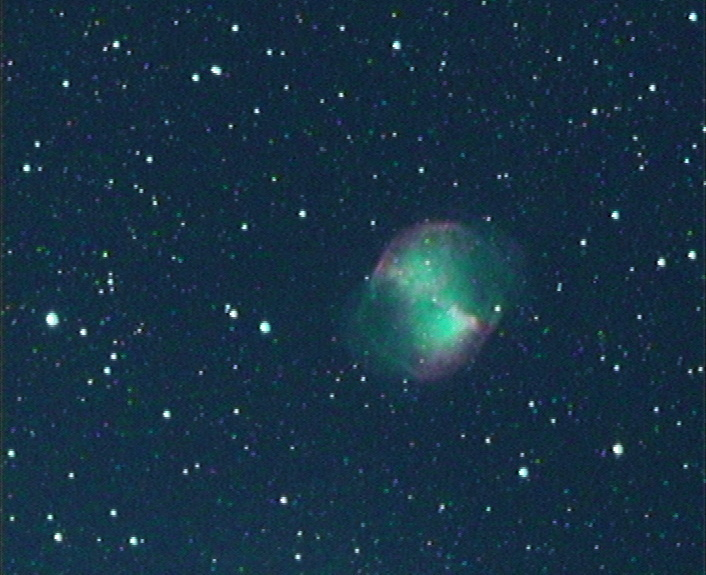 A single-shot screen grab of the Dumbbell Nebula, Messier 27, captured with the DSO-1 at the f/2 Hyperstar focus (560mm focal length) of a Celestron C11 Schmidt–Cassegrain telescope. The red and green hues were obvious on the monitor. AN image by Ade Ashford.