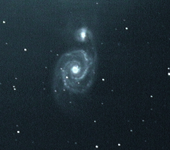 A single-shot screen grab of the Whirlpool Galaxy, Messier 51, captured with the DSO-1 at the f/2 Hyperstar focus (560mm focal length) of a Celestron C11 Schmidt–Cassegrain telescope. Much fine detail is recorded in the galaxy's spiral arms. AN image by Ade Ashford.