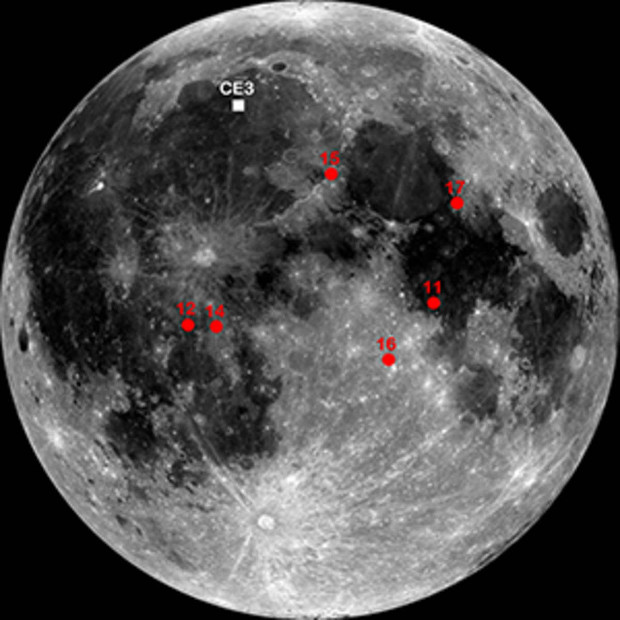 The Chang'e-3 landing site is indicated with a white square in this lunar map, a mosaic made with the Lunar Reconnaissance Orbiter's Wide Angle Camera. The landing sites of the Apollo missions are in red. Image credit: NASA/GSFC/ASU.