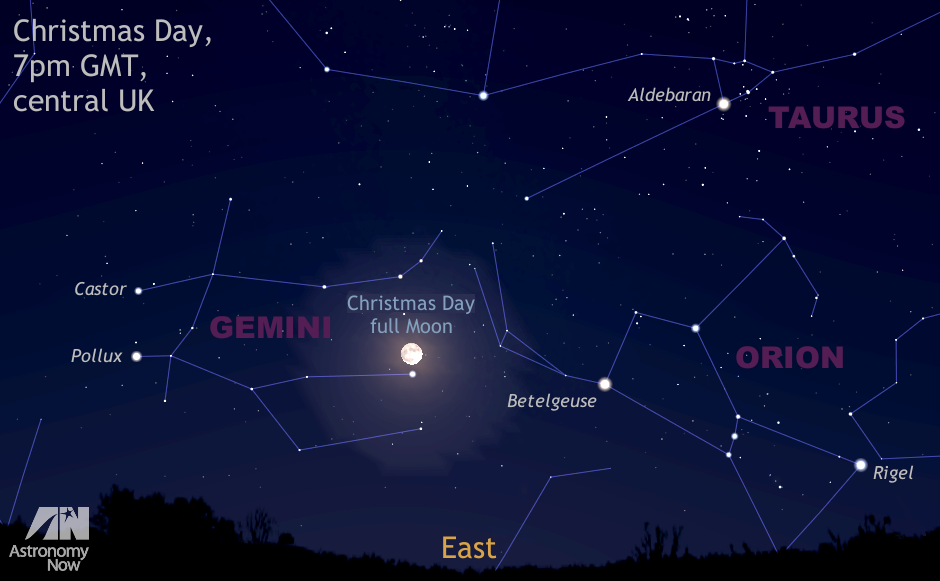 This graphic represents the view due east at 7pmGMT on Christmas Day 2015 as seen from the centre of the British Isles, about an hour after full darkness has descended. The rising full Moon lies in the constellation Gemini, just above magnitude +1.9 star γ Geminorum, otherwise known as Alhena. This is the first time since 1977 that a full Moon has fallen on 25December and the next time it occurs is 2034, so hopefully it will be clear! AN graphic by AdeAshford.