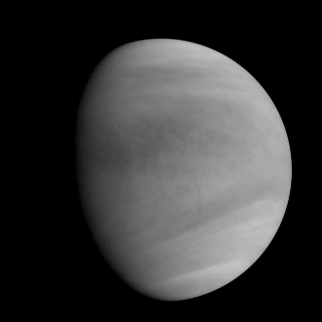 This image of Venus was captured by the Akatsuki spacecraft's Ultraviolet Imager (UVI), at around 5:19am GMT (2:19pm JST) on 7 December at the Venus altitude of approximately 44,700 miles (72,000 kilometres). Image credit: JAXA.