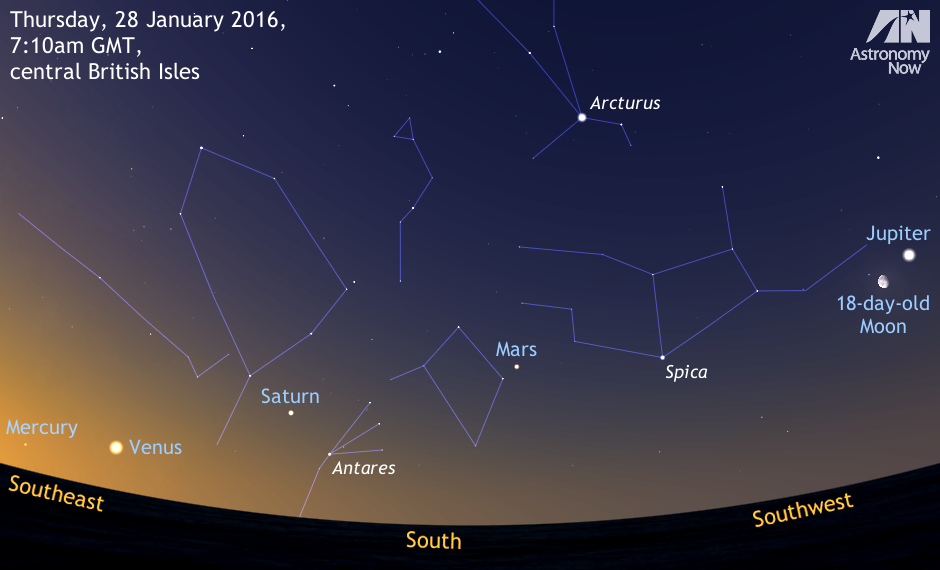 All five of the bright naked-eye planets are observable in the pre-dawn sky from about the third week of January 2016. The last time that Mercury, Venus, Mars, Jupiter and Saturn appeared in the same sky was from mid-December 2004 to mid-January 2005. Eleven years later, this current observing window also lasts about a month. This simulated view is 120degrees wide (or about six spans of an outstretched hand at arm's length), showing the sky an hour before local sunrise for the heart of the UK. AN illustration by AdeAshford.