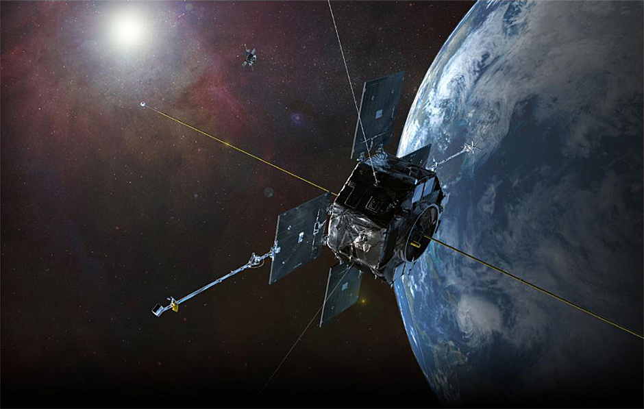 This artist's rendition represents NASA's twin Van Allen Probes (formerly known as the Radiation Storm Belts Probes) in orbit within Earth's magnetic field to explore the radiation belts. Image credit: JHU/APL.
