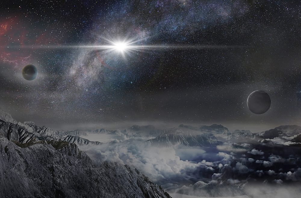 An artist's impression of the record-breakingly powerful, superluminous supernova ASASSN-15lh as it would appear from an exoplanet located about 10,000 light-years away in the host galaxy of the supernova. Image credit: Beijing Planetarium / Jin Ma.