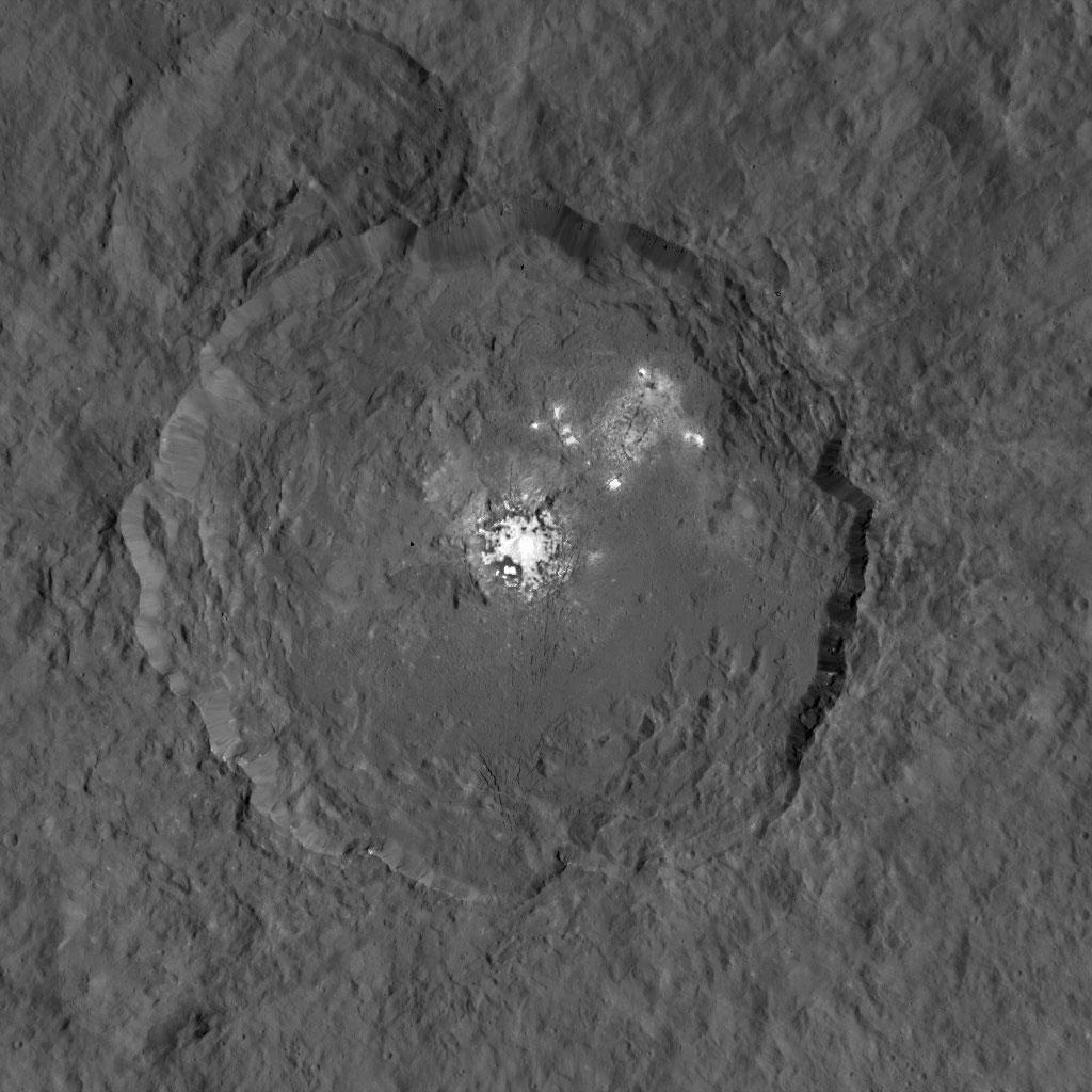 Occator Crater, with its bizarre bright spots. Image: NASA/JPL–Caltech/UCLA/MPS/DLR/IDA.