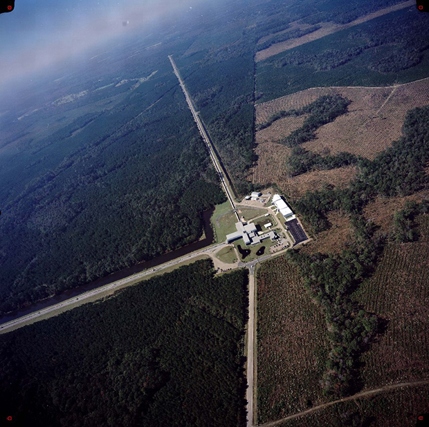 An aerial view of the LIGO detector in Louisiana, showing the L-shaped structure of the detector. Image: LIGO Observatory.