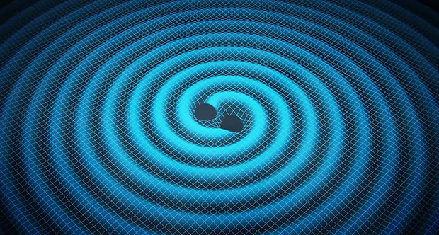 A diagram depicting two black holes spiralling inwards and emitting gravitational waves. Image: Swinburne Astronomy Productions.