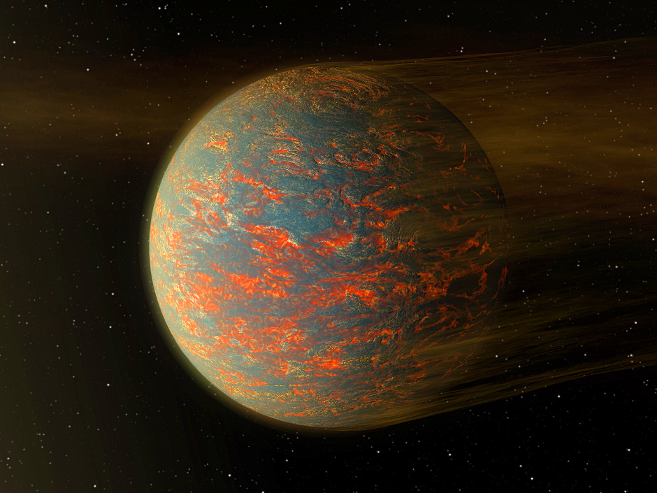 This illustration shows one possible scenario for the rocky exoplanet 55Cancrie, nearly two times the size of Earth. New Spitzer data show that one side of the planet is much hotter than the other — which could be explained by a possible presence of lava pools. Image credit: NASA/JPL-Caltech.