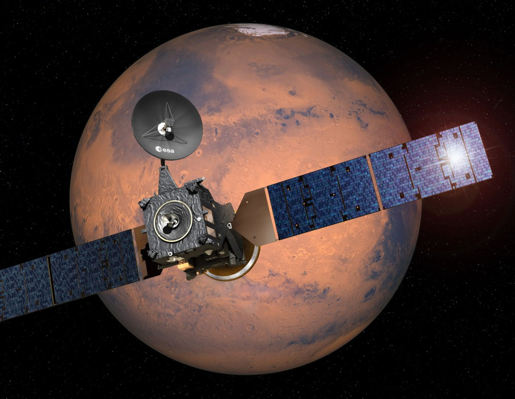 Artist's impression of the ExoMars 2016 Trace Gas Orbiter and Schiaparelli lander arriving at Mars. Image: ESA.
