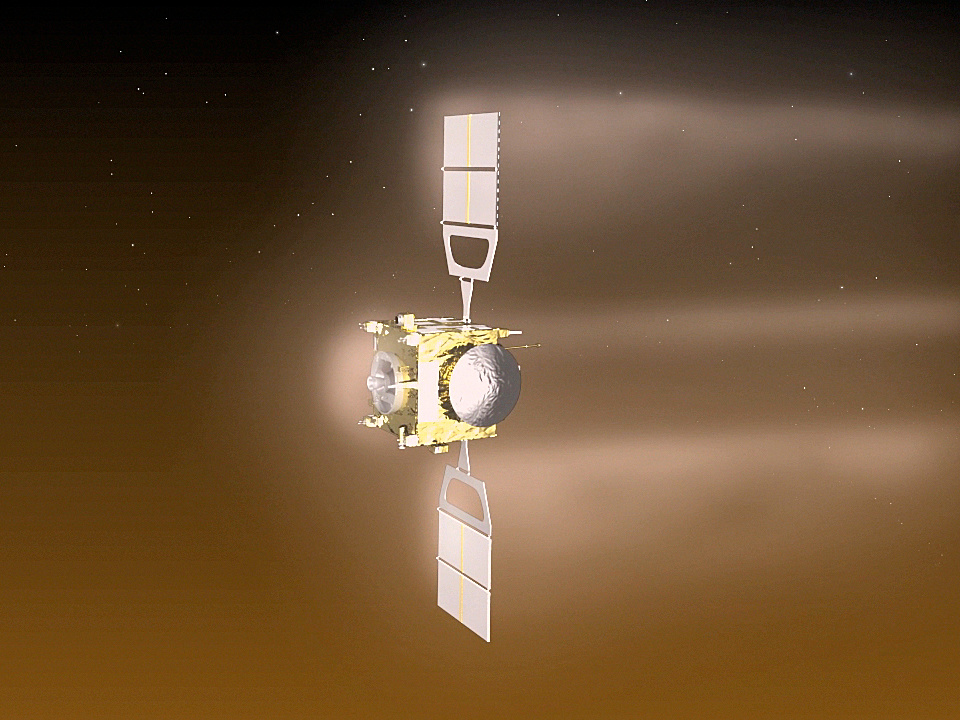Visualisation of Venus Express performing the aerobraking manoeuvre, during which the spacecraft orbited Venus at an altitude of around 130 kilometres from 18 June to 11 July 2014. In the month before, the altitude was gradually reduced from around 200 to 130 kilometres. Image credit: © ESA–C. Carreau.