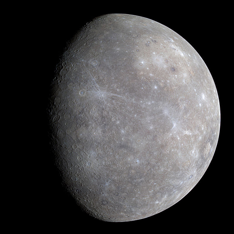 A full-colour composite image of Mercury taken during the first flyby of NASA's MESSENGER spacecraft on 14January 2008. Mercury has a diameter of 3030miles, or 38percent that of the Earth. The planet rotates once in 58.6days and its year is almost 88days. With virtually no atmosphere, Mercury's heavily cratered surface endures wildly ranging temperatures from −173 °C at night to 427 °C during the day. Mercury's eccentric orbit means that its distance from the Sun varies between 28.6million and 43.4million miles. Image credit: NASA/Johns Hopkins University Applied Physics Laboratory/Carnegie Institution of Washington.