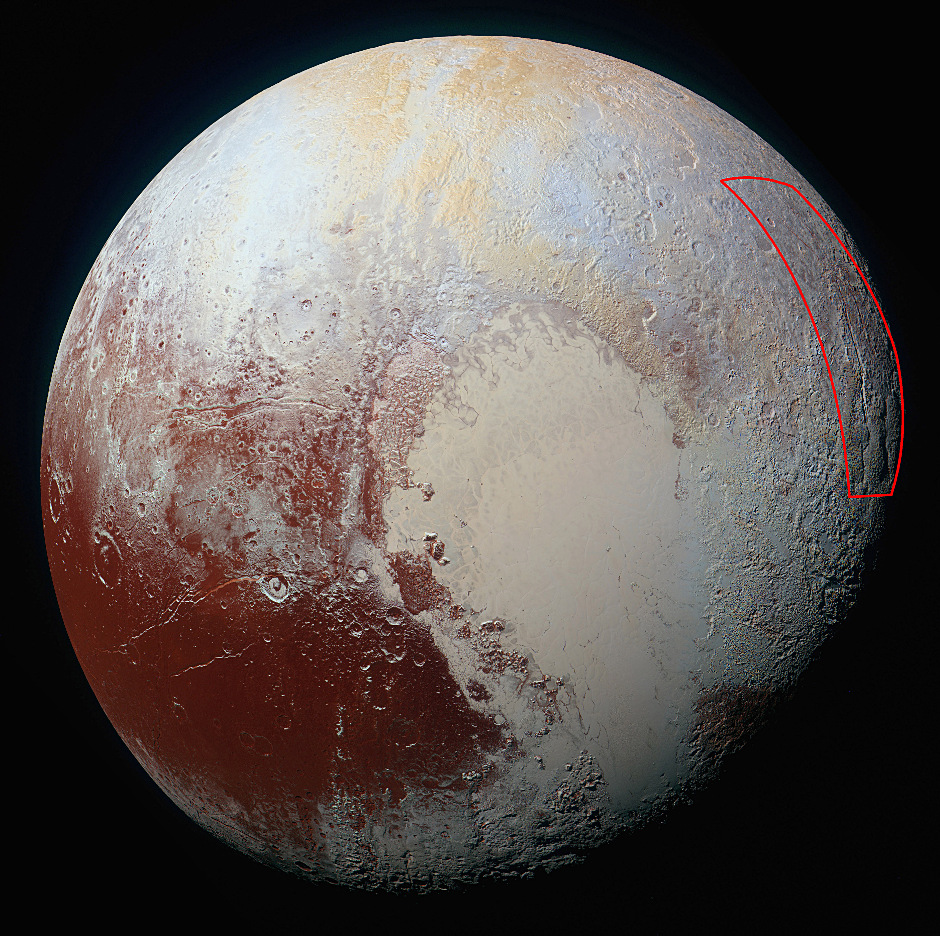 Location of the spider-like feature at the eastern edge of Pluto's encounter hemisphere, as captured by NASA's New Horizons spacecraft on 14 July 2015. Image credits: NASA/JHUAPL/SwRI.
