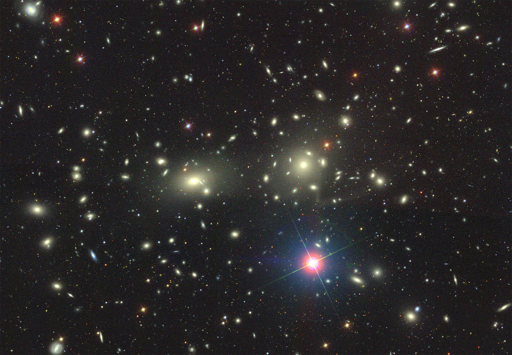 The Coma Cluster is a large cluster of over 1,000 identified galaxies with a mean distance of 321 million light-years from Earth. Coma Cluster image from the Sloan Digital Sky Survey. Image credit: Dustin Lang and SDSS Collaboration.
