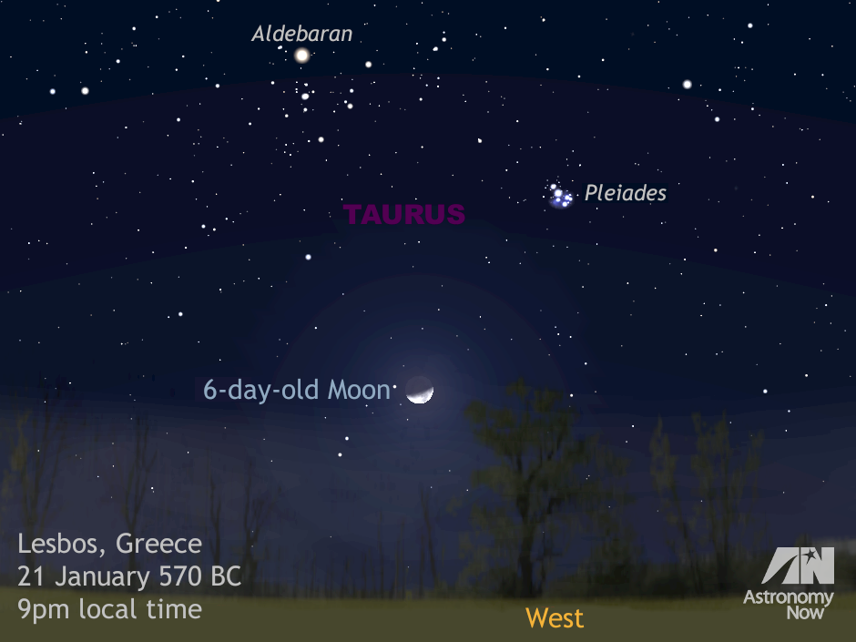 "A computer simulation of the sky over the island of Lesbos, Greece, soon after astronomical dusk during the third week of January 570 BC. The 6-day-old waxing crescent Moon lies in the constellation of Taurus forming a triangle with first-magnitude star Aldebaran and the Seven Sisters, or Pleiades open star cluster. Physicists and astronomers from the University of Texas at Arlington believe that this sky scene, or one of a few nights later, to have inspired Sappho's ""Midnight Poem."" AN graphic by Ade Ashford."