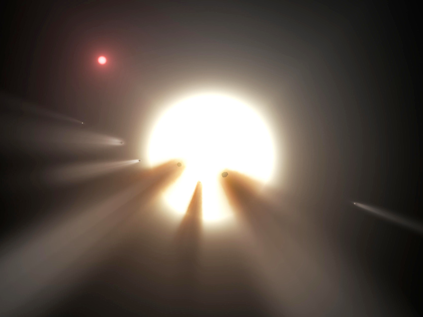 Artist's impression of an orbiting swarm of dusty comet fragments, which are a possible explanation for the unusual light signal of KIC8462852, popularly known as Tabby's star, about 1,480 light-years away in the constellation Cygnus. Image creditNASA/JPL-Caltech.