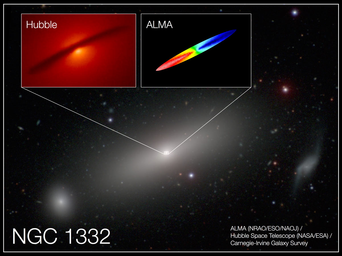 Combined image of NGC 1332 shows the central disc of gas surrounding the supermassive black hole at the centre of the galaxy. New ALMA observations traced the motion of the disc, providing remarkably precise measurements of the black hole's mass: 660 million times the mass of our Sun. The red region in the ALMA image represents emission that has been redshifted by gas rotating away from us; the blue represents emission blue-shifted by gas rotating toward us. The range of colours represents rotational speeds up to 500 kilometres per second. Illustration credit: A. Barth (UCI), ALMA (NRAO/ESO/NAOJ); NASA/ESA Hubble; Carnegie-Irvine Galaxy Survey.