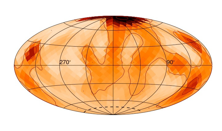 A polar starspot can be seen on the star zetaAndromedae. The placement of the spot shows how the magnetic activity of this large, fast-spinning star differs from the present-day magnetic activity of our Sun. This image is shaped in this way because it's a projection of the star that allows researchers to see the star's entire surface. Image credits: RachaelRoettenbacher and JohnMonnier.