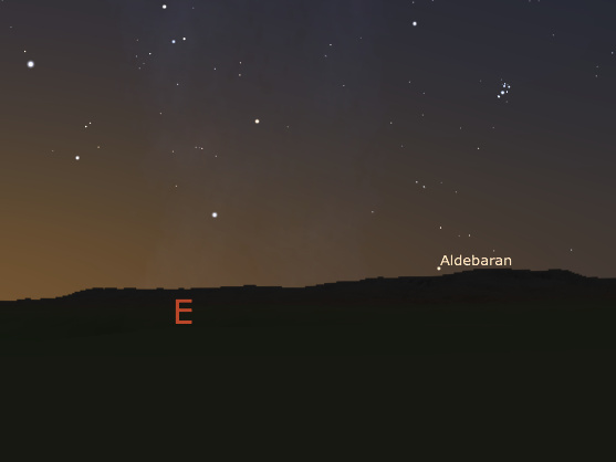 """The view towards the east from the Carregal do Sal megalithic cluster, at dawn at the end of April around 4,000 BCE, as reconstructed using a Digital Elevation Model and Stellarium. Aldebaran, the last star to rise before the Sun, is rising directly above Serra da Estrela, the """"mountain range of the star."""" Image credit: F. Silva."""