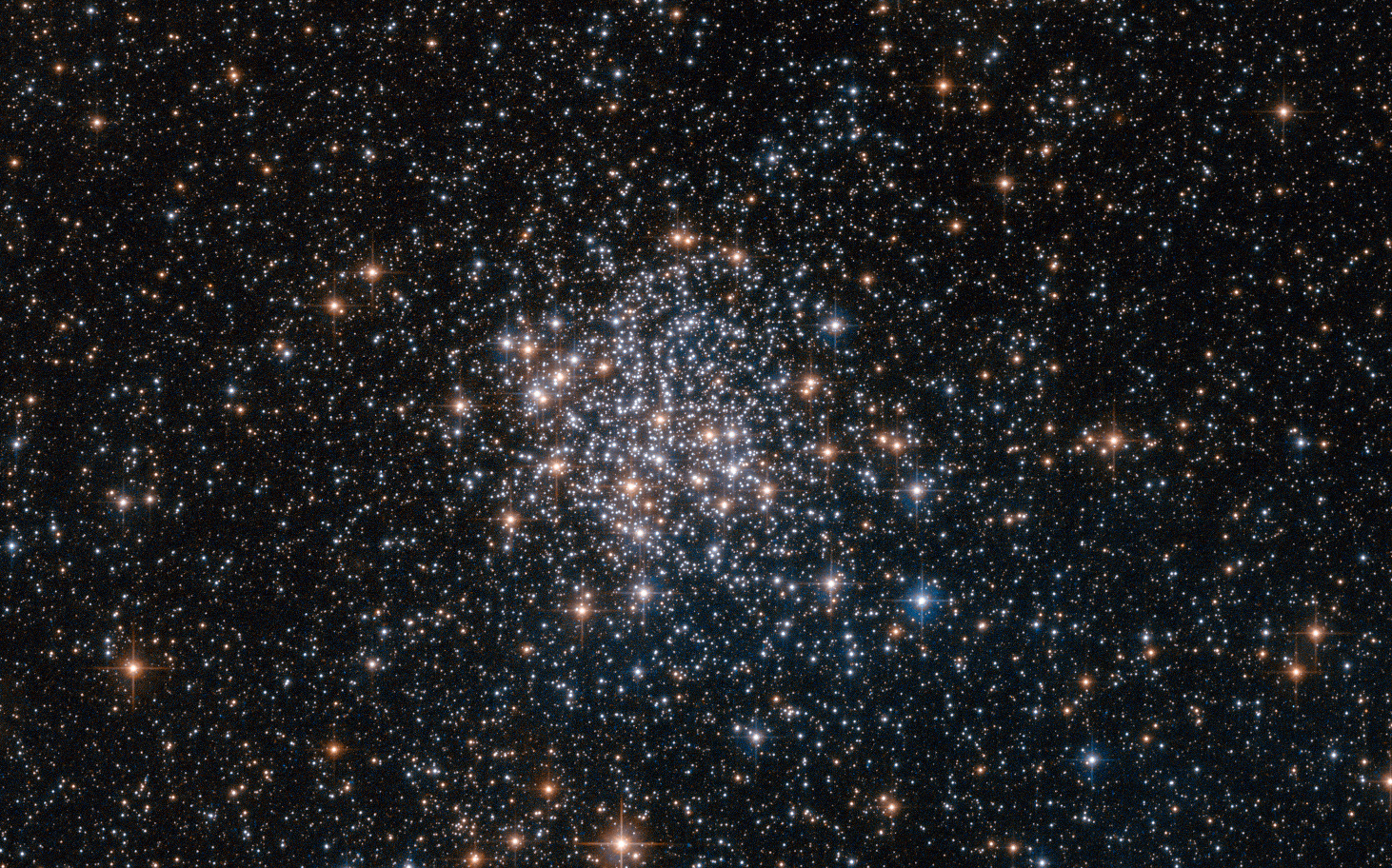 """Magnitude +10.4 globular cluster NGC1854 (α=05h 09m 20.2s, δ=-68° 50' 56"""" J2000.0) was discovered in 1826 by James Dunlop. It lies 135,000 light-years away in the Large Magellanic Cloud. This Hubble Space Telescope view is just 2.4 x 1.5arcminutes in size. Click the image for a larger version. Image credit: ESA/Hubble & NASA."""
