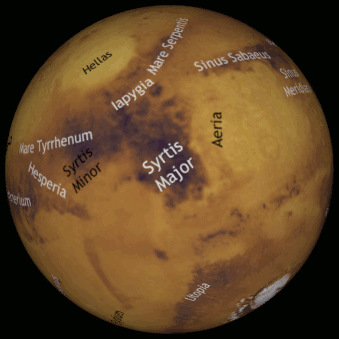 This annotated computer-generated map of the Red Planet obtained through our interactive Mars Mapper app shows the Martian hemisphere facing Earth mid-June at around 11:30pm BST. The map has south up and east to the right, matching the inverted view of a Newtonian, or a refractor/catadioptric without a star diagonal. Click the graphic to launch Mars Mapper in a new window. AN graphic by Ade Ashford.