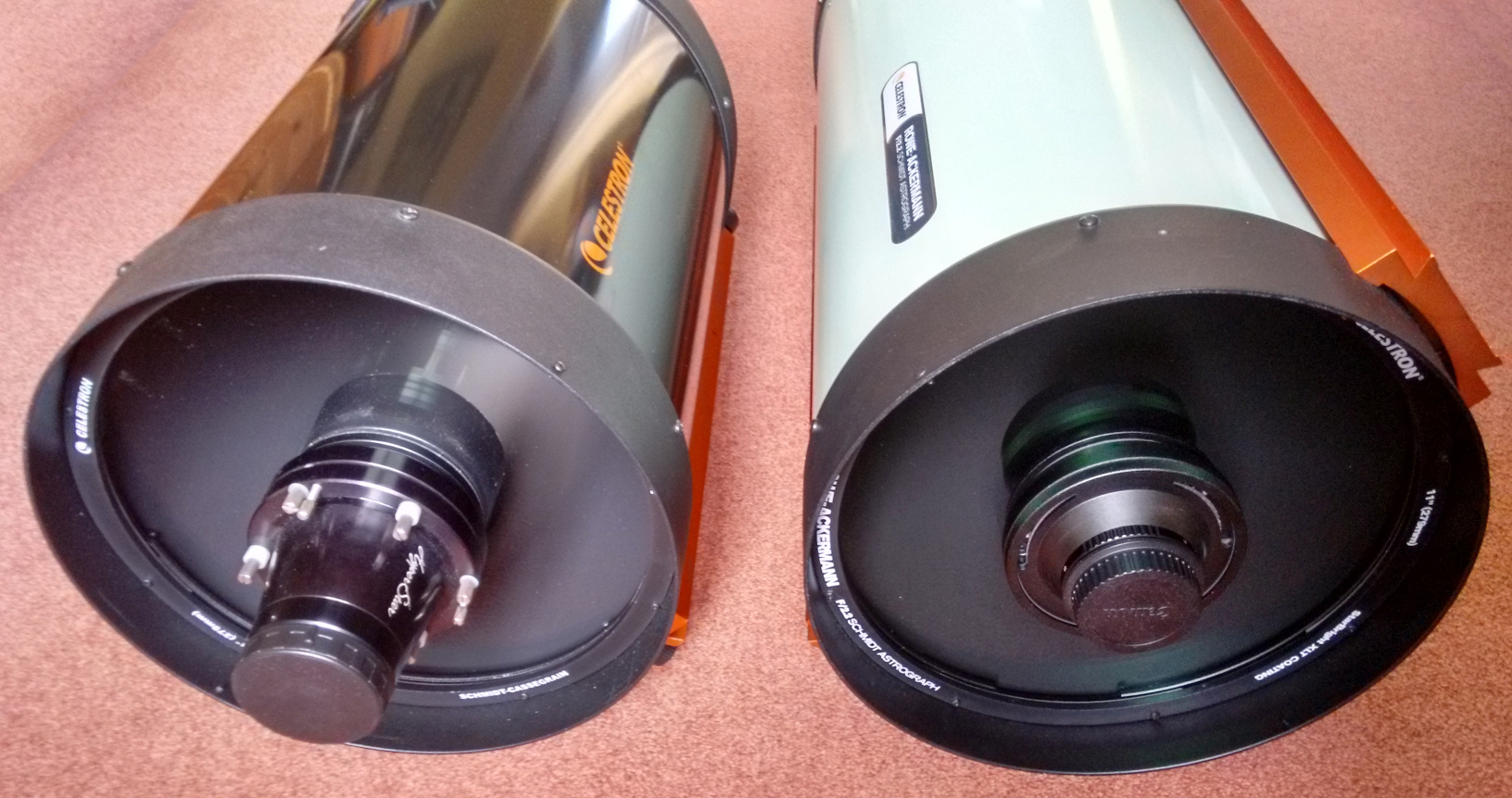 A HyperStar3-enabled Celestron C11 optical tube (left) permits one to image at similar photographic speeds to the new Rowe-Ackermann Schmidt Astrograph (RASA), but the HyperStar corrector lens system is not optimised for the optical tube that it is used with. RASA is a tightly-integrated system optimised for full-frame sensors, whereas HyperStar3 is limited to APS-C-sized DSLRs. Image credit: Ade Ashford.