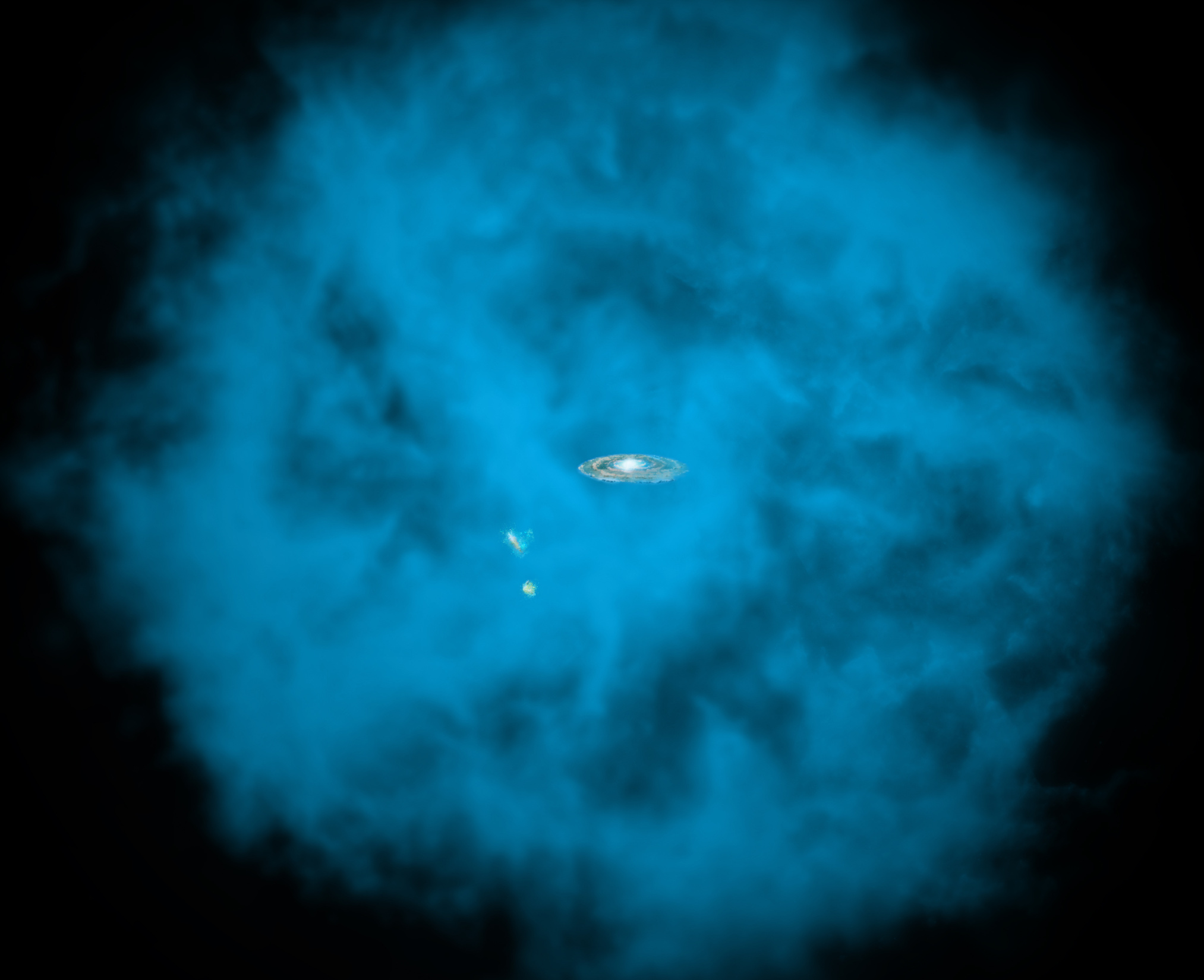 Our Milky Way galaxy and its small companions are surrounded by a giant halo of million-degree gas (seen in blue in this artists' rendition) that is only visible to X-ray telescopes in space. University of Michigan astronomers discovered that this massive hot halo spins in the same direction as the Milky Way disc and at a comparable speed. Image credits: NASA/CXC/M.Weiss/Ohio State/A Gupta et al.